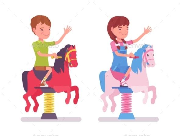 Boy, Girl Child 7, 9 Yo School Age Kid, Horse - People Characters