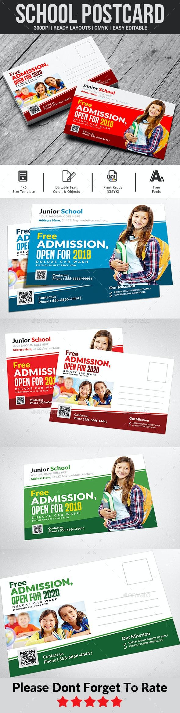 Junior School Education Postcard - Cards & Invites Print Templates