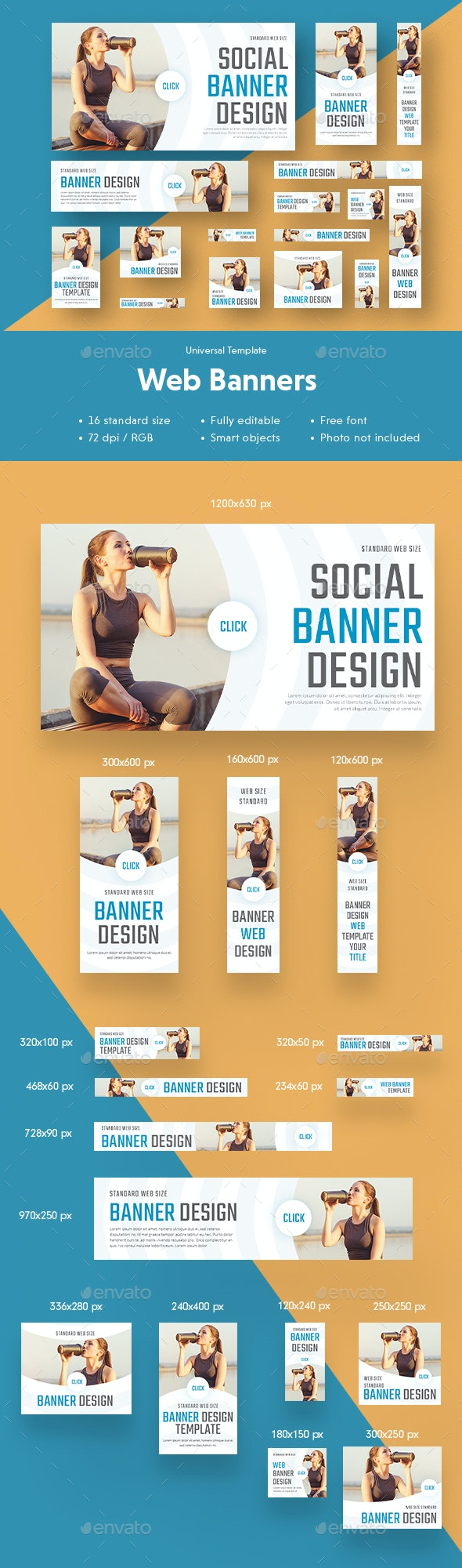 Multipurpose Web Banners Sport Template - Banners & Ads Web Elements