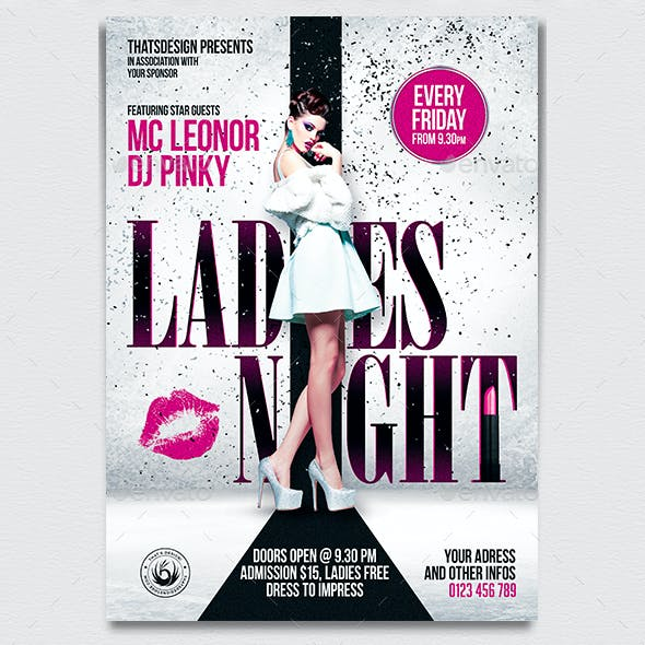 Ladies Night Flyer Poster Template V1