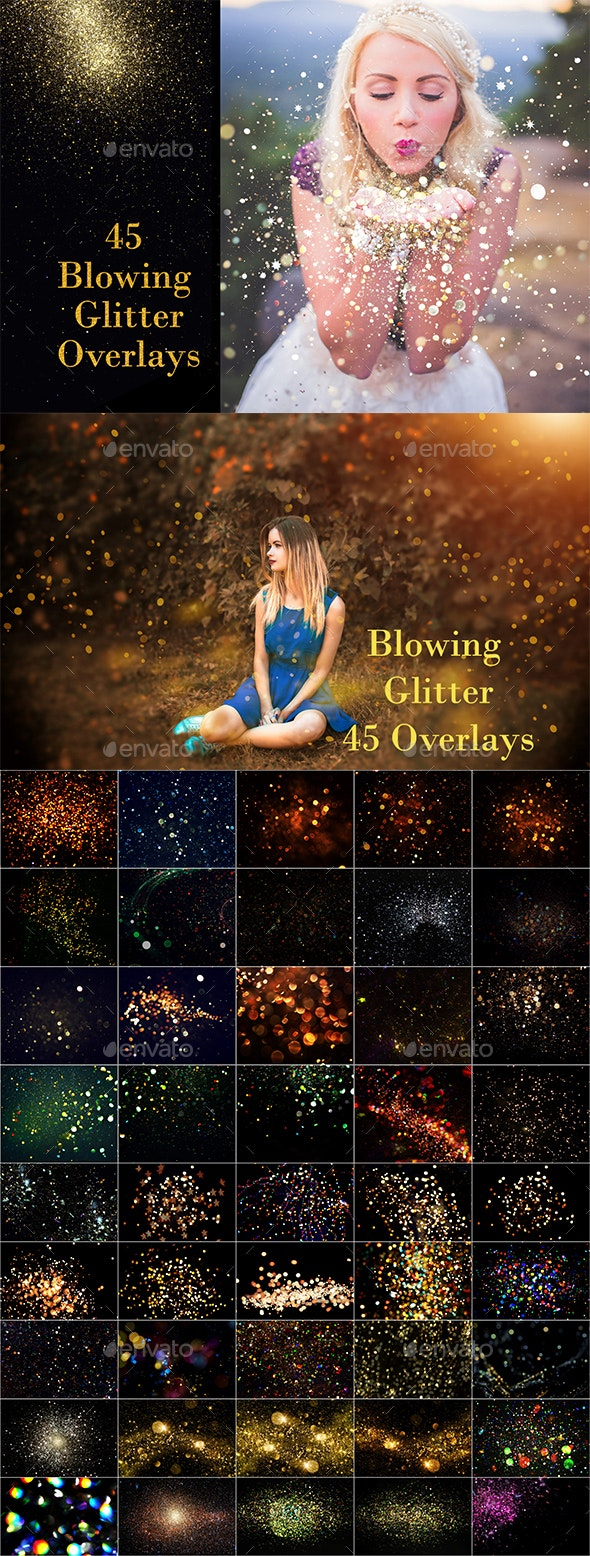 Blowing Glitter Photoshop Overlays, Confetti Photoshop overlays, photoshop overlay, glitter overlays - Miscellaneous Backgrounds