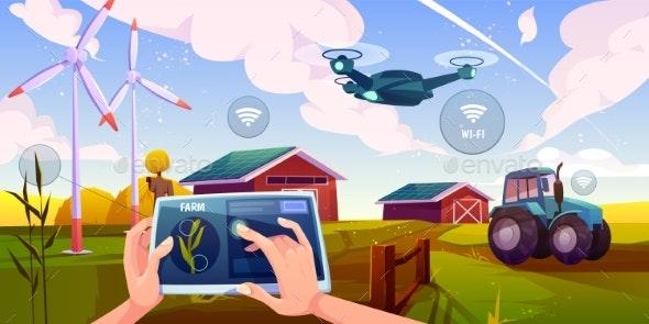 Smart Farming, Futuristic Technologies in Farm - Technology Conceptual