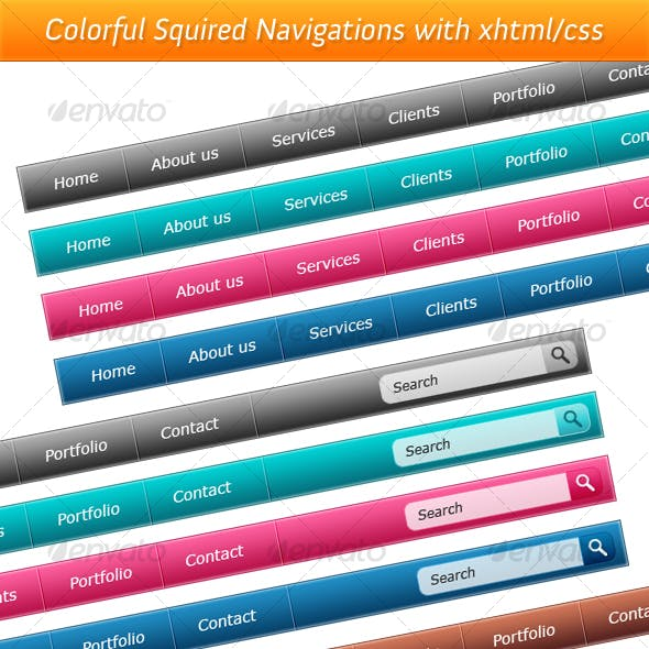 Colorful Squired Navigations with XHTML/CSS- Vol.4