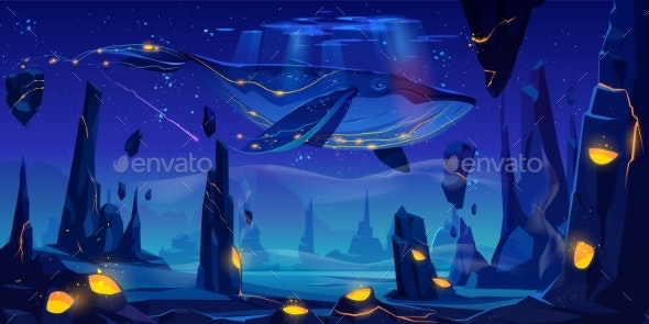 Fantasy Dream, Space Fairy Tale with Huge Whale - Landscapes Nature