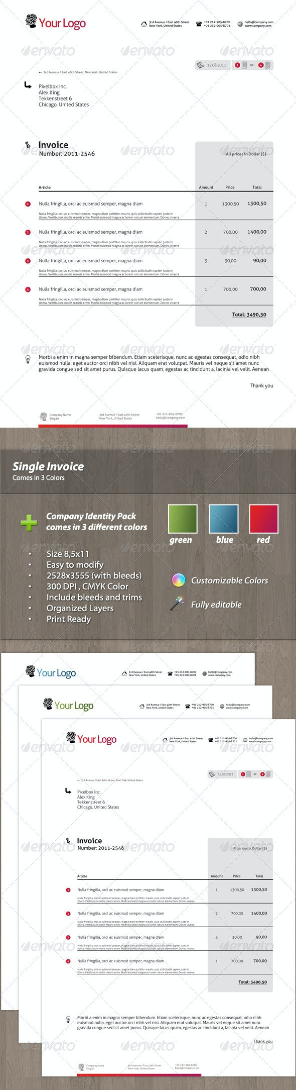 Modern Single Invoice - Proposals & Invoices Stationery