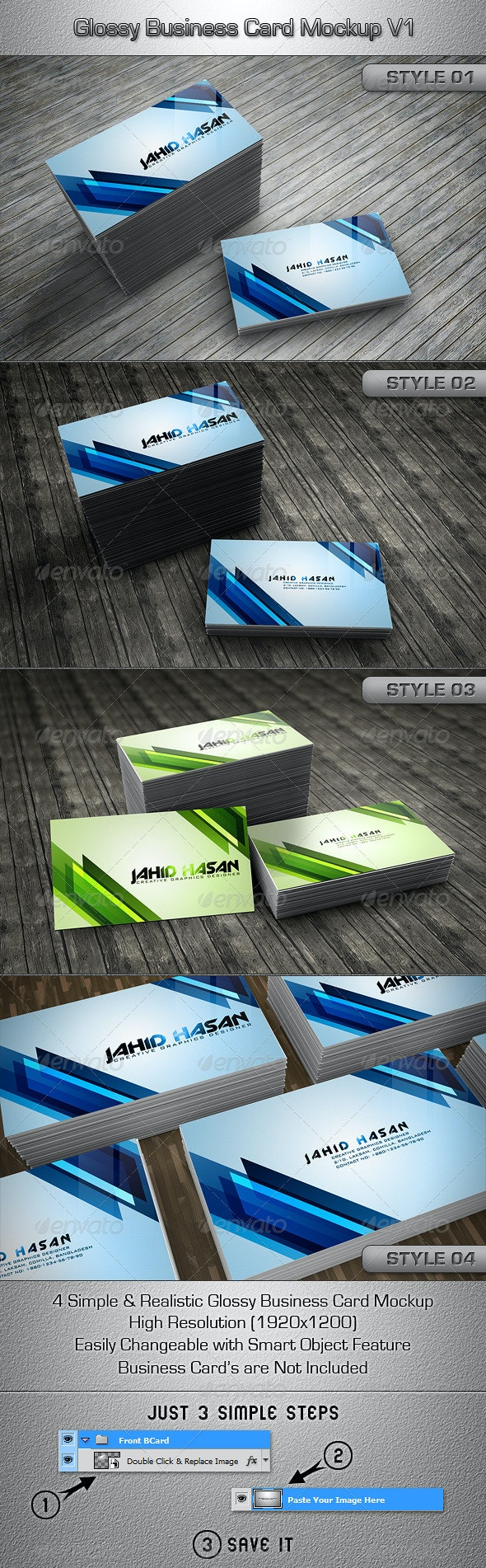 Glossy Business Card MockUp V1 - Business Cards Print