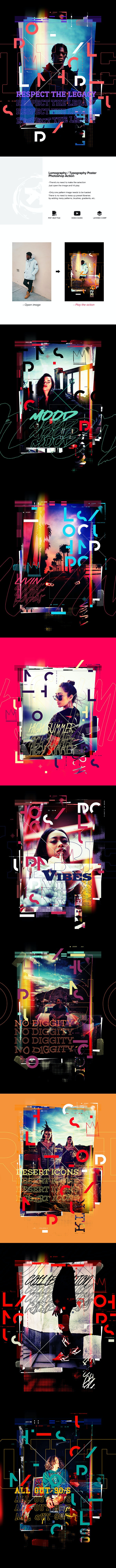 Lomography Typography Poster Photoshop Action - Photo Effects Actions