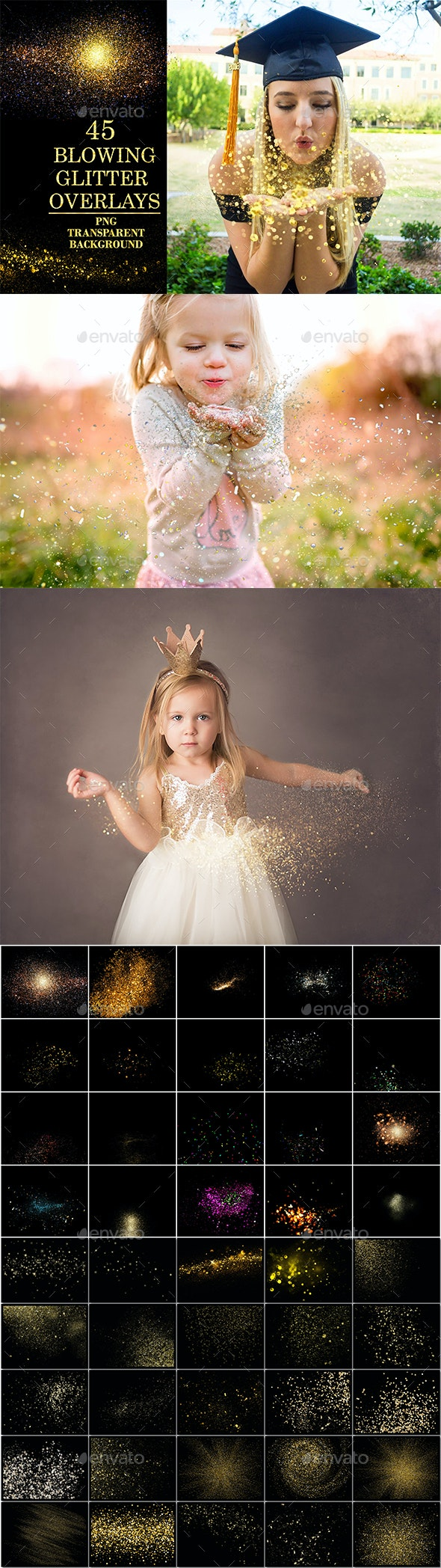 Blowing Glitter Photoshop Overlays - Miscellaneous Backgrounds