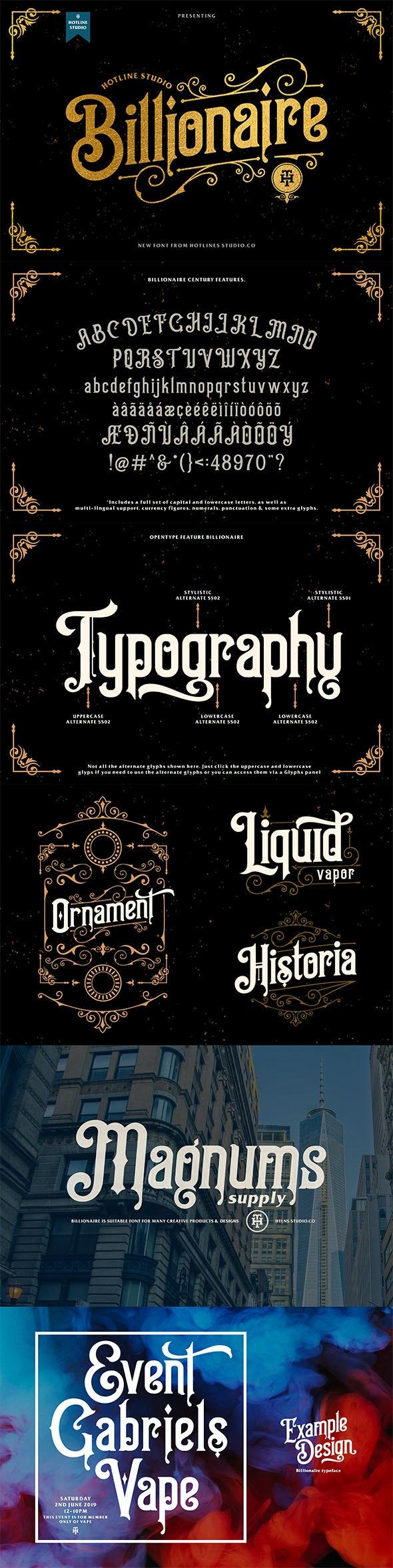 Billionaire typeface - Decorative Fonts
