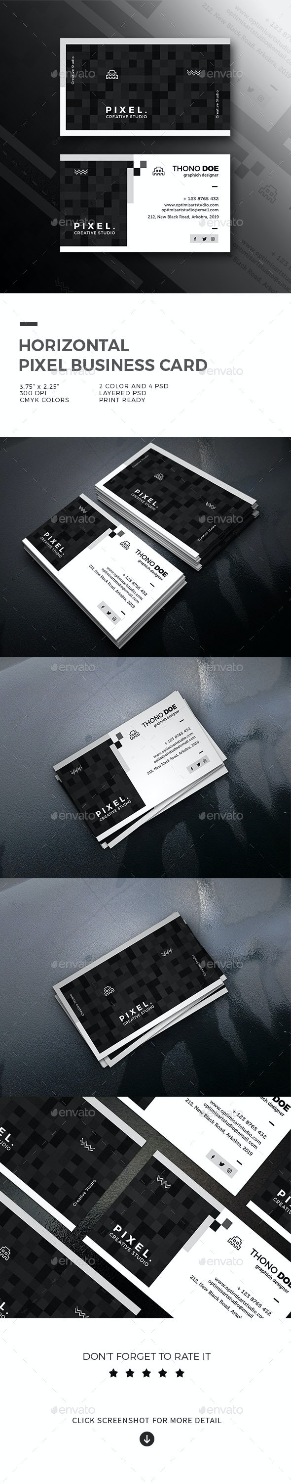 Horizontal Pixel Business Card - Creative Business Cards