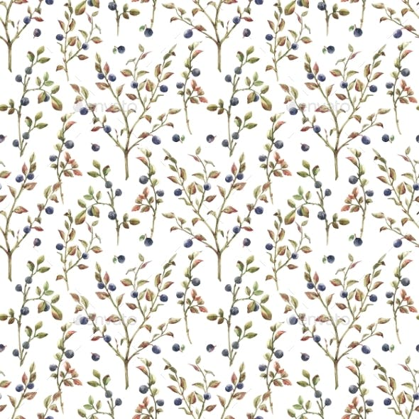 Watercolor Blueberry Pattern