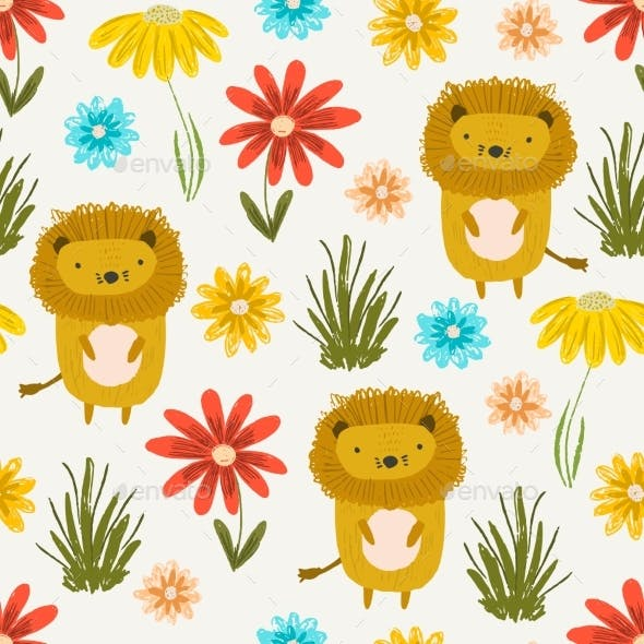 Cute Pattern with Little Lions, Grass and Flowers