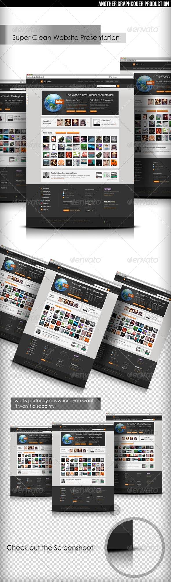 Super Clean Web Mock-Up - Website Displays