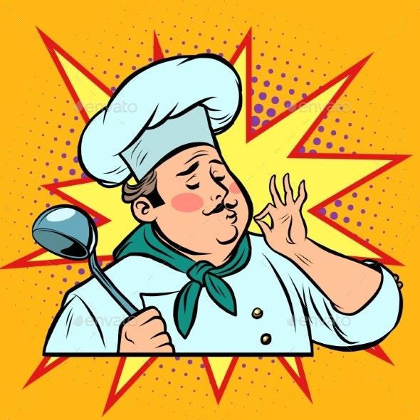 Pop Art Retro Cook Ok Gesture, Gourmet Food Taste - People Characters