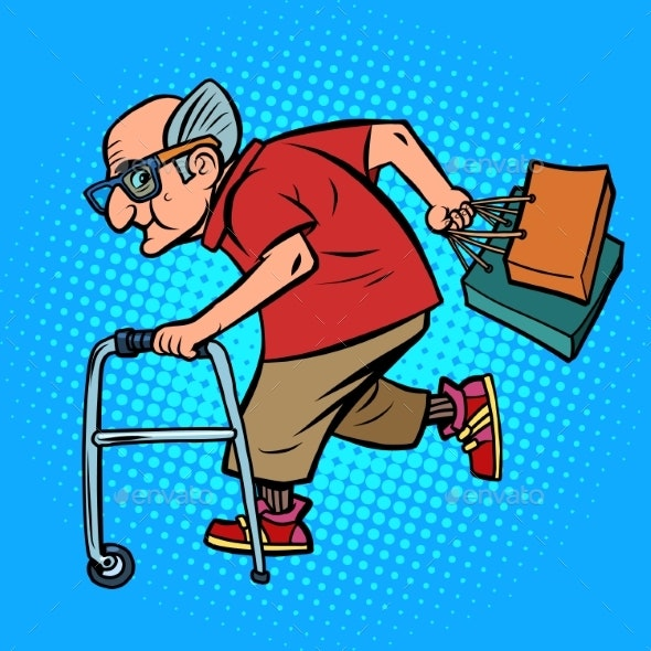 Active Old Man with Shopping - People Characters