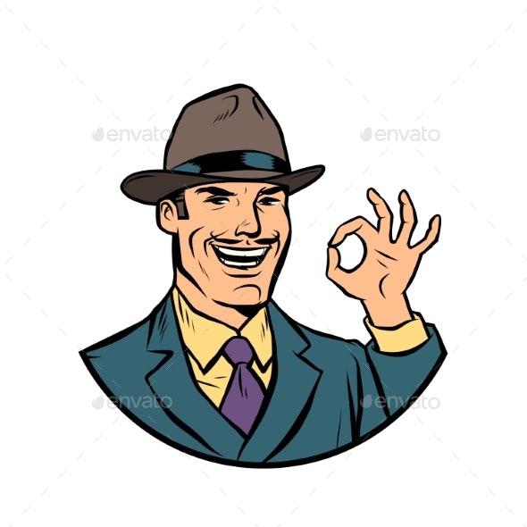 Retro Businessman OK Gesture - People Characters