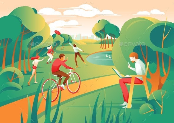 Cartoon People City Park Play Frisbee Ride Bicycle - Landscapes Nature