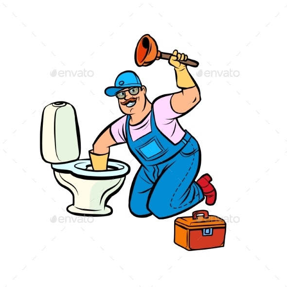 Plumber Cleans the Toilet - Business Conceptual