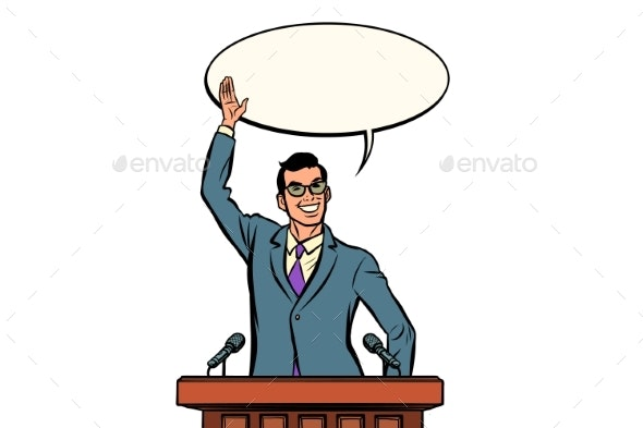 Businessman or Politician Speaker Speaking at the - People Characters
