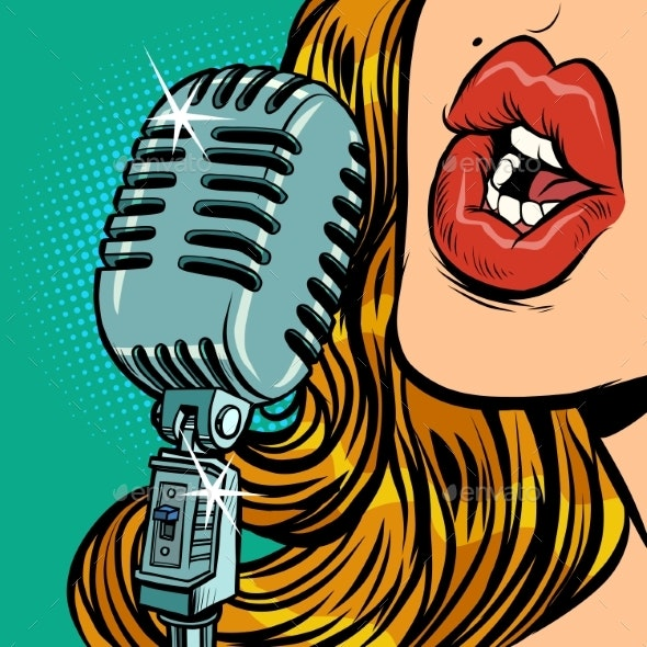 Woman. Vintage Retro Microphone. Music Standup - People Characters