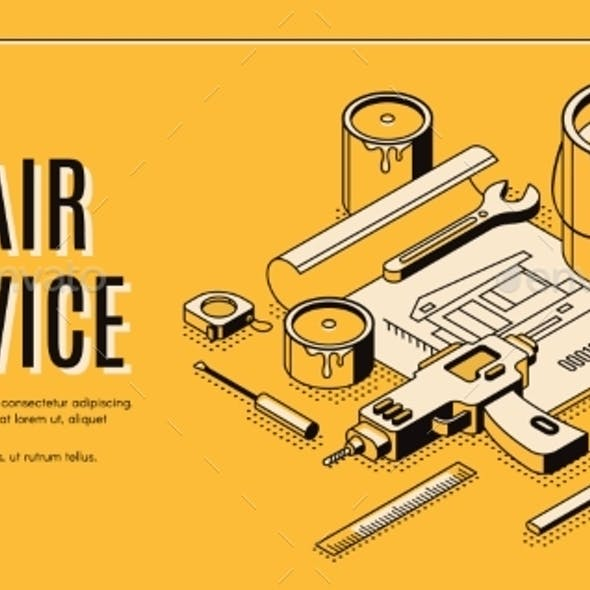 Repair Service Isometric Landing Page Blueprint
