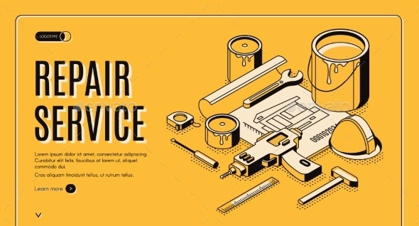 Repair Service Isometric Landing Page Blueprint - Buildings Objects