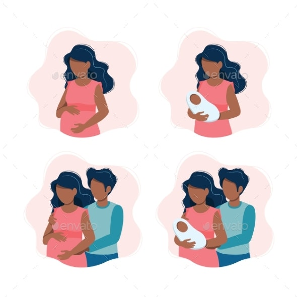 Woman Holding a Newborn Baby - People Characters