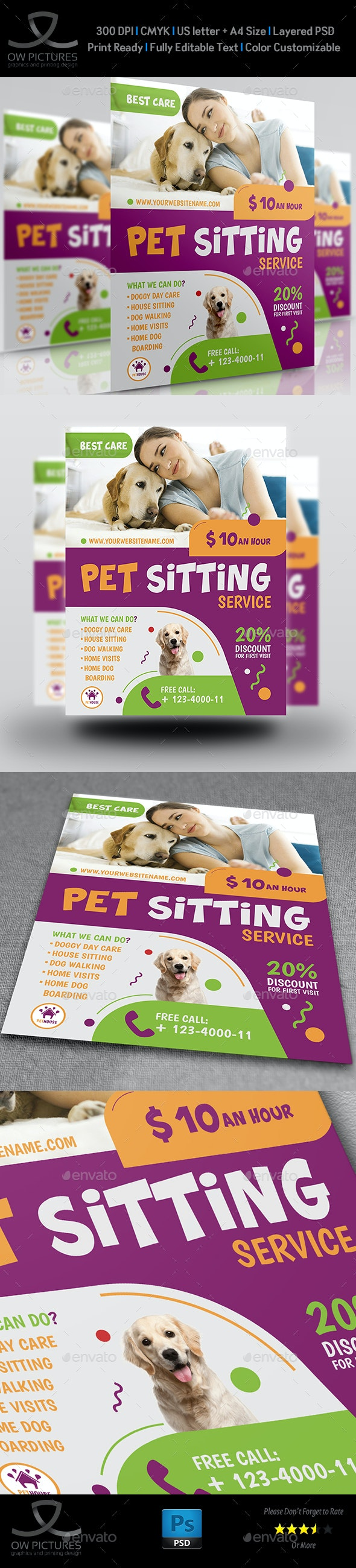 Pet Sitting Service Flyer Template - Corporate Flyers