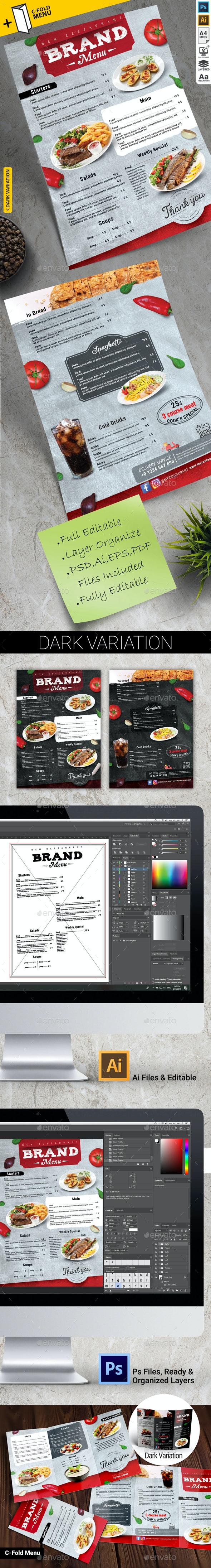Food Menu + C Fold Menu - Food Menus Print Templates