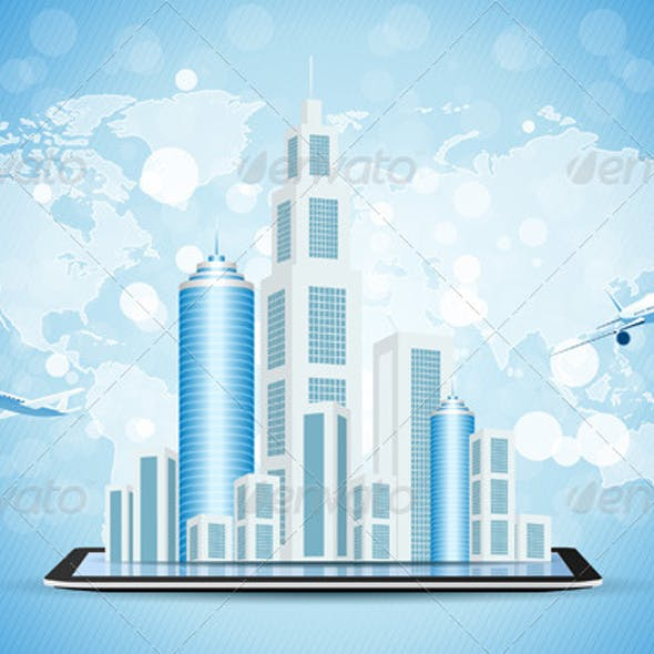 Blue Background with Business City on Tablet Compu