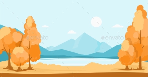 Autumn Landscape with Lake and Mountains - Landscapes Nature
