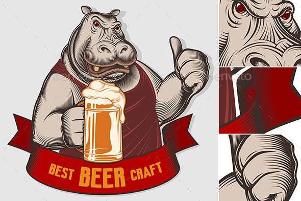 Emblem of Hippopotamus with Beer Glass - Animals Characters