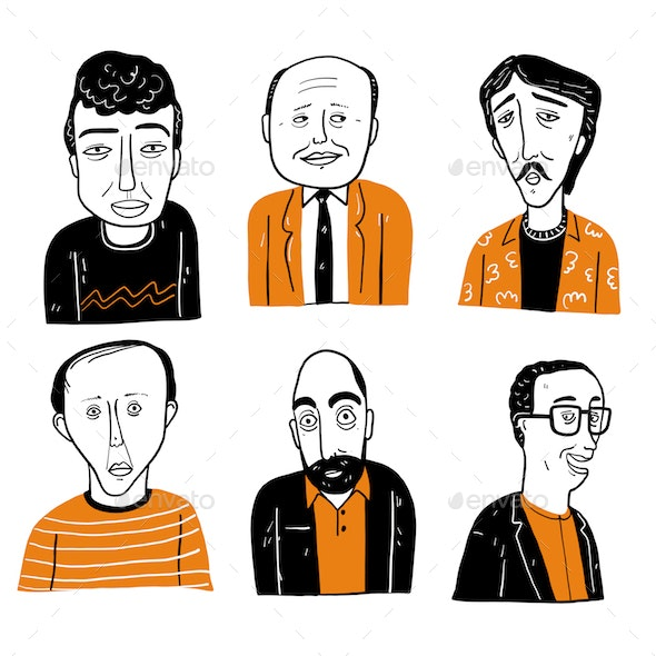 Hand Drawn Faces - People Characters