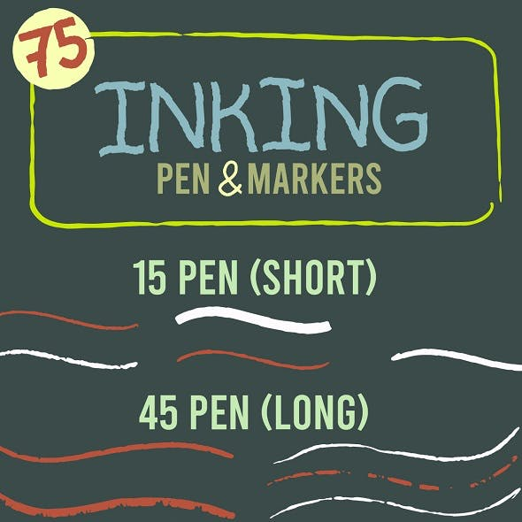 75 Inking Pen and Marker Brush for Illustrator