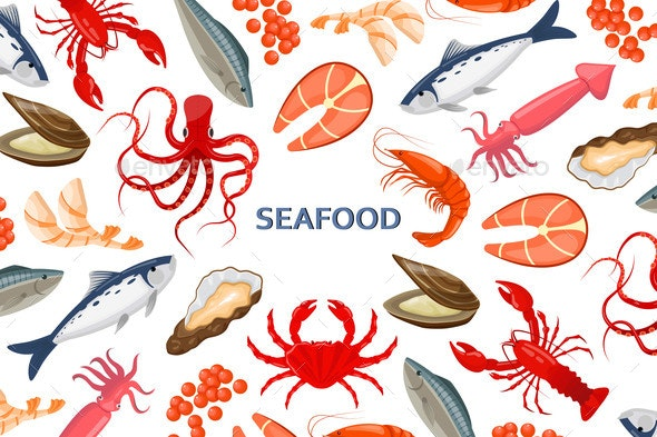 Flyer with Seafood - Animals Characters