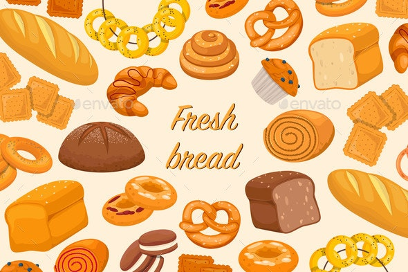 Flyer with Baked Products - Food Objects