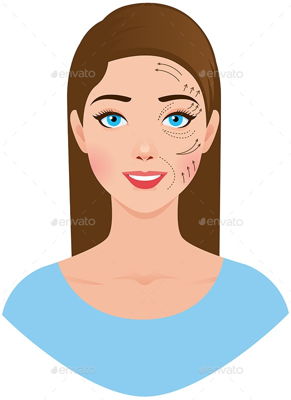Portrait of a Woman With a Plastic Surgeon Pattern - People Characters