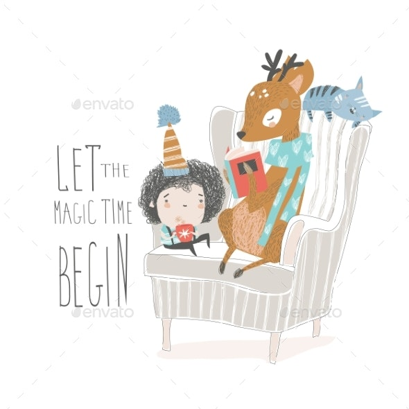 Deer Reading Book to a Boy - Animals Characters