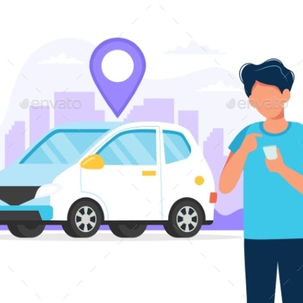 Person with Car and City Background