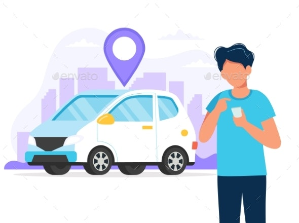 Person with Car and City Background - Man-made Objects Objects