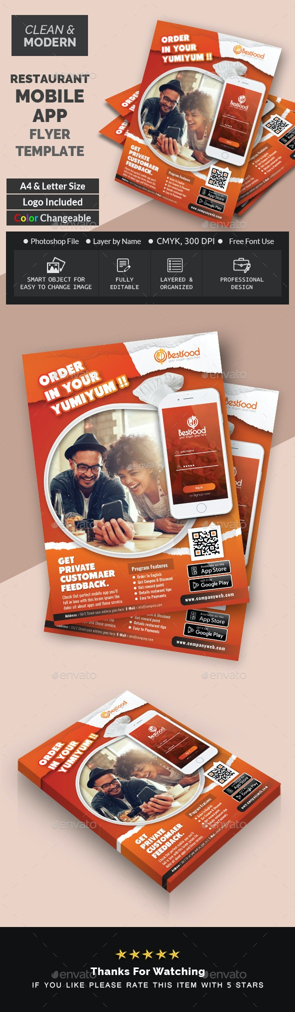 Restaurant Mobile App Flyer Templates - Corporate Flyers
