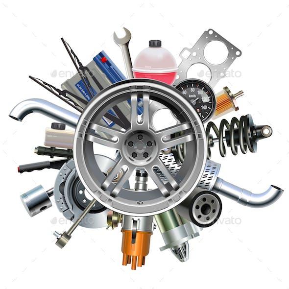 Vector Car Parts with Wheel Disk