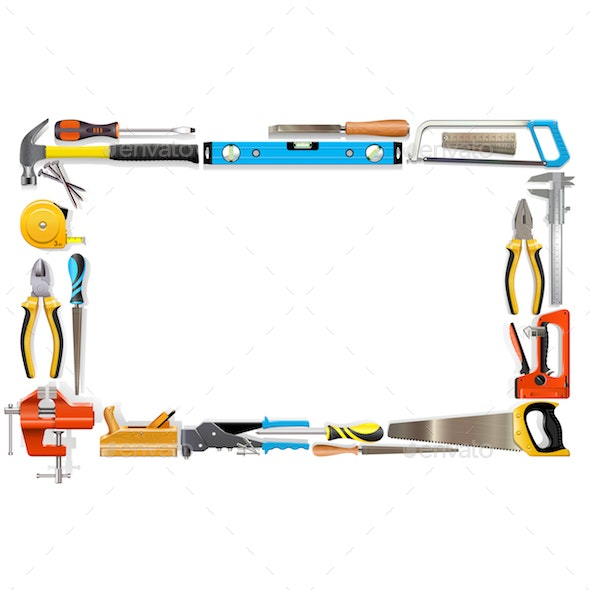 Vector Blank Frame with Tools - Industries Business