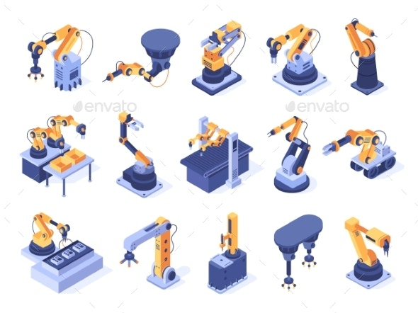 Isometric Robotic Arm Industrial Factory Machines - Industries Business