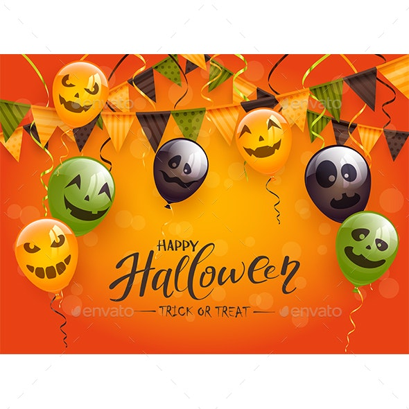 Happy Halloween with Balloons and Pennants - Halloween Seasons/Holidays