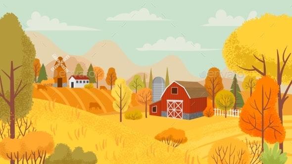 Autumn Farming Landscape Country Farm - Landscapes Nature