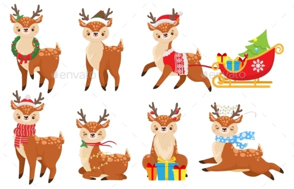 Cartoon Christmas Deer by tartila