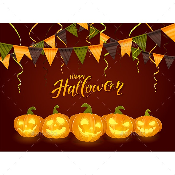 Happy Halloween with Pumpkins and Pennants - Halloween Seasons/Holidays