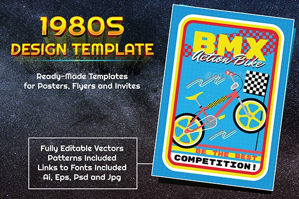 1980s Style Sports BMX Design Template - Sports Events