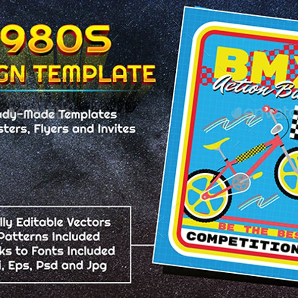 1980s Style Sports BMX Design Template